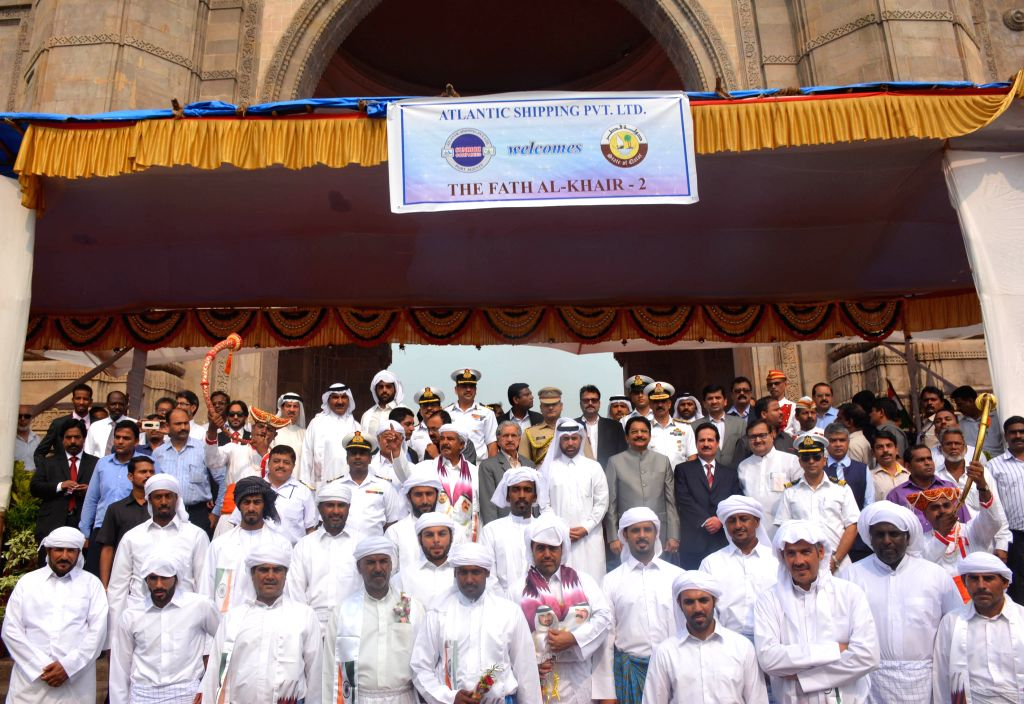 Maharashtra Governor C V Rao accorded a ceremonial reception to a Qatari dhow, `Fath Al Khair 2` which arrived on a friendly mission, at the Gateway of India in Mumbai, on Oct 24, 2015. - C V Rao