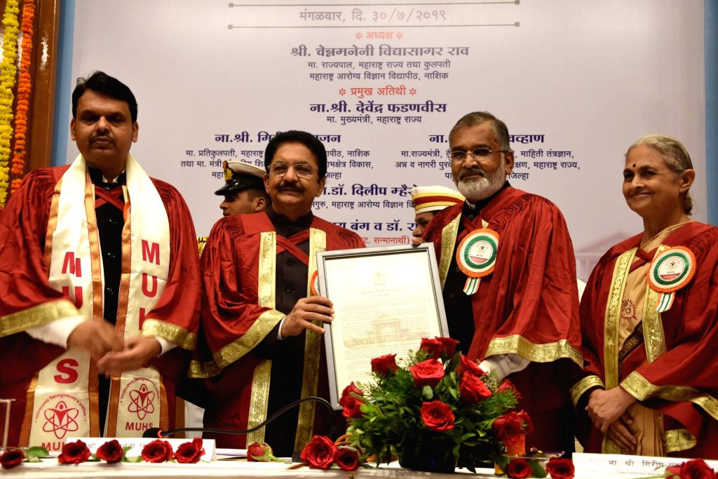 Maharashtra Governor C. Vidyasagar Rao, Chief Minister Devendra Fadnavis and other dignitaries during 4th Science Special Convocation Conclave, in Mumbai on July 30, 2019. - Devendra Fadnavis and C. Vidyasagar Rao
