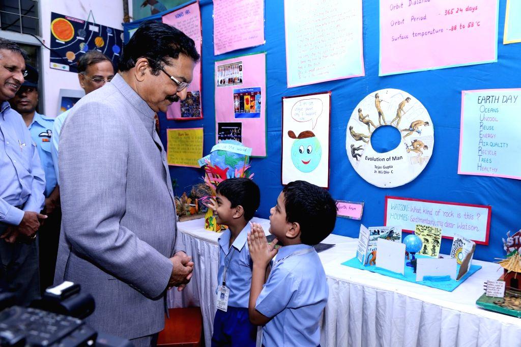 "Maharashtra Governor Chennamaneni Vidyasagar Rao during inauguration of ""Prithvi""- a three-day inter-school exhibition at a Mumbai school on Dec 6, 2017. - Chennamaneni Vidyasagar Rao"