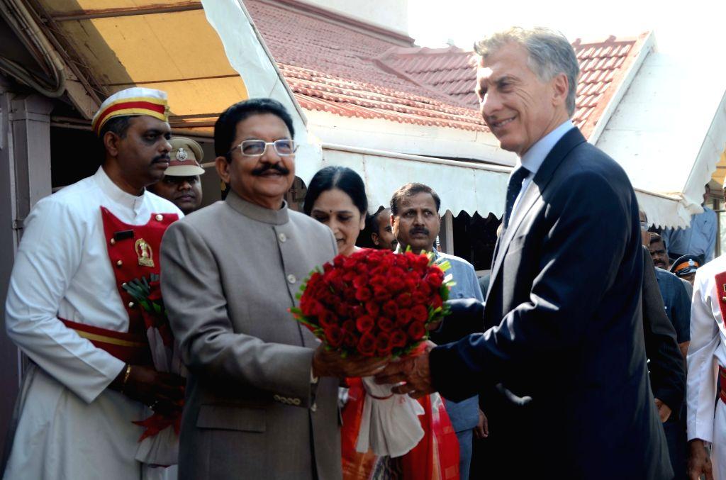 Maharashtra Governor Chennamaneni Vidyasagar Rao welcomes Argentine President Mauricio Macri at Raj Bhavan in Mumbai, on Feb 19, 2019. - Chennamaneni Vidyasagar Rao