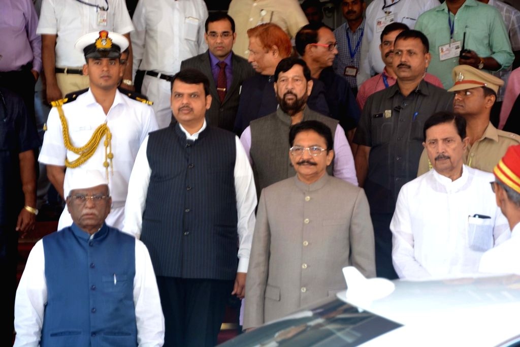 Maharashtra Governor Chennamaneni Vidyasagar Rao and Chief Minister Devendra Fadnavis arrive at state assembly on the first day of the budget session in Mumbai on Feb 25, 2019. - Devendra Fadnavis and Chennamaneni Vidyasagar Rao