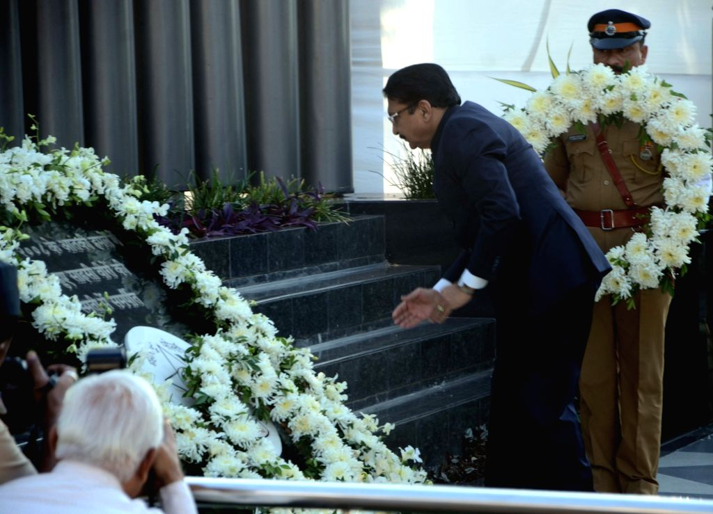 Maharashtra Governor CV Rao pays tribute during a programme organised on 8th anniversary of 26/11 Mumbai terror attacks at Police Gymkhana in Mumbai on Nov 26, 2016.
