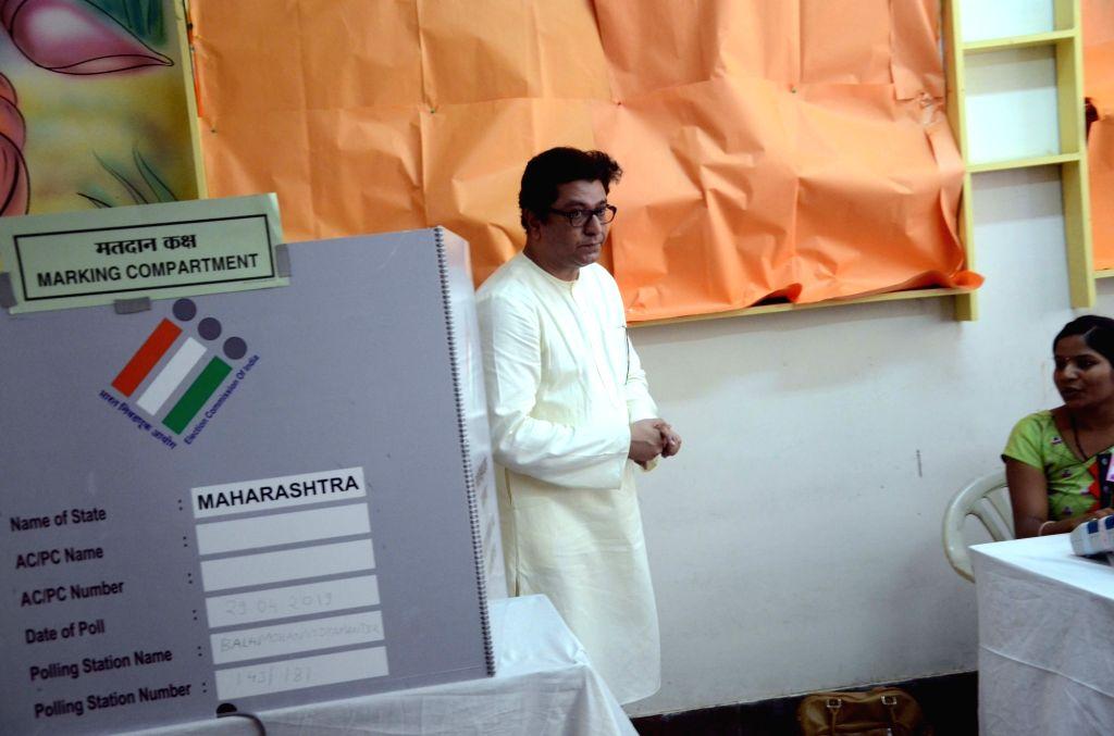 Maharashtra Navnirman Sena chief Raj Thackeray leaves after casting his vote for the fourth phase of 2019 Lok Sabha elections in Mumbai, on April 29, 2019.
