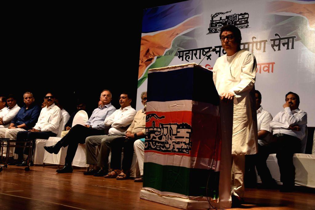 Maharashtra Navnirman Sena chief Raj Thackeray addresses party leaders and workers at a party meeting in Mumbai on Aug 9, 2019.