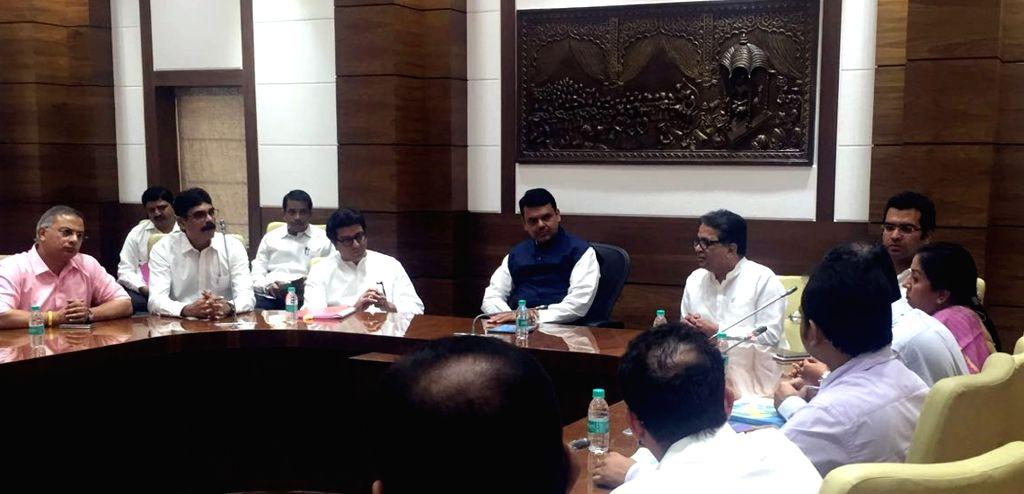 Maharashtra Navnirman Sena (MNS) chief Raj Thackeray meets the Maharashtra Chief Minister Devendra Fadnavis regarding impact of NEET on students in Mumbai, on May 16, 2016. - Devendra