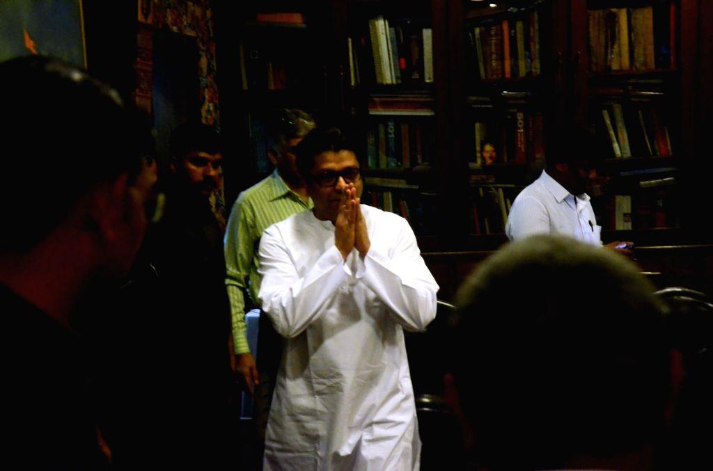 Maharashtra Navnirman Sena (MNS) chief Raj Thackeray meets drivers of app-based taxi aggregators in Mumbai, on March 30, 2018.