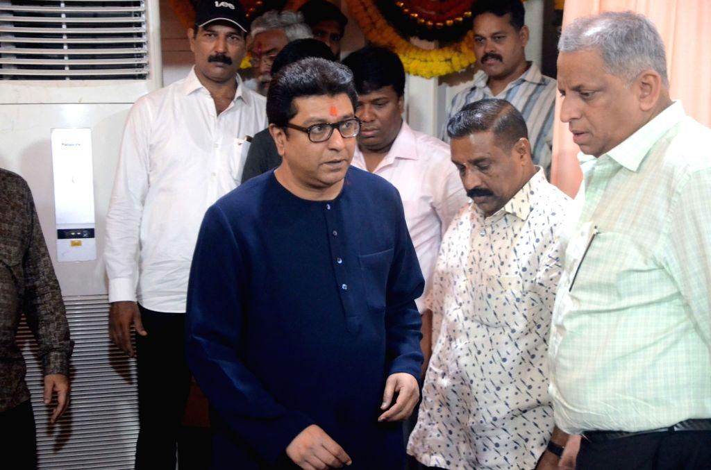 Maharashtra Navnirman Sena (MNS) chief Raj Thackeray arrives to celebrate his birthday with party workers at his residence in Mumbai, on June 14, 2019.