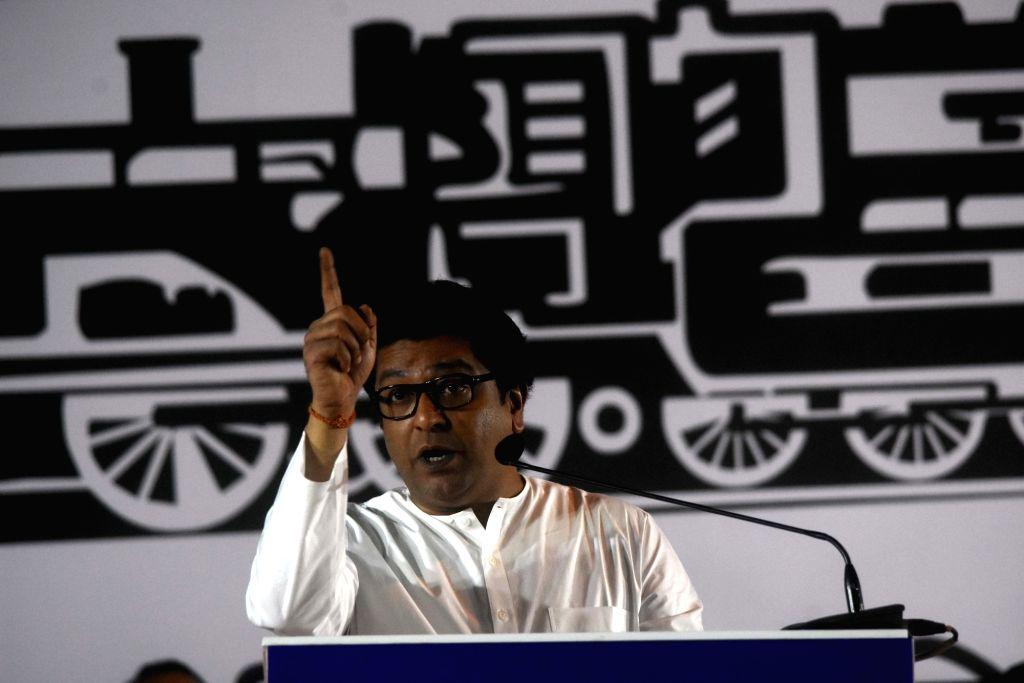 Maharashtra Navnirman Sena (MNS) President Raj Thackeray addresses a public rally in Mumbai on Oct 10, 2019.