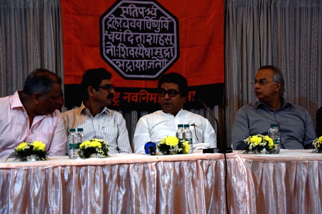 Maharashtra Navnirman Sena (MNS) President Raj Thackeray presides over a meeting with party functionaries ahead of the party's February 9 rally at Azad Maidan; in Mumbai on Jan 27, 2020. On ...