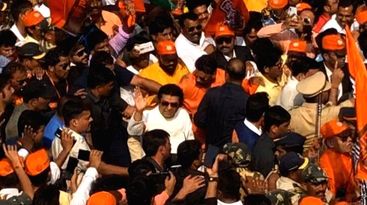 Maharashtra Navnirman Sena (MNS) President Raj Thackeray leads a mega-morcha (procession) demanding the ouster of Pakistani-Bangladeshi infiltrators living in India; in Mumbai on Feb 9, 2020. ...