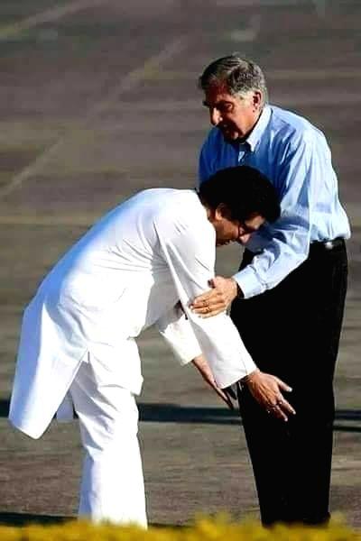 Maharashtra Navnirman Sena President Raj Thackeray touches the feet of Tata Group Chairman Emeritus Ratan Tata, seeking his blessings. - Ratan Tata