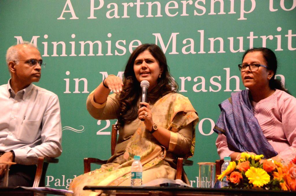 Maharashtra Women and Child Development Minister Pankaja Munde addresses during the signing of a tripartite MoU between Reliance Foundation and Rajmata Jijau Mother-Child Health Nutrition ... - Pankaja Munde