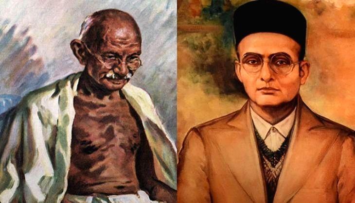 Mahatma Gandhi and Veer Savarkar. (File Photo: IANS)