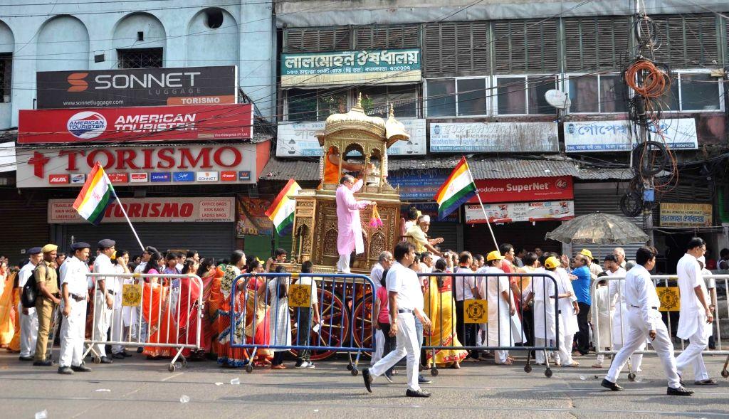 Mahavir Jayanti celebrations underway, in Kolkata on March 29, 2018.