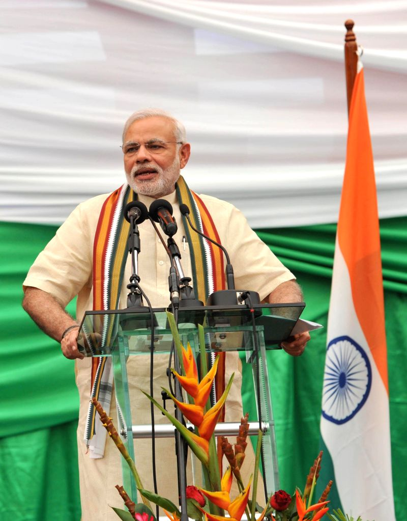 Prime Minister Narendra Modi addresses at the Civic Reception, in Mahe, Seychelles on March 11, 2015. - Narendra Modi
