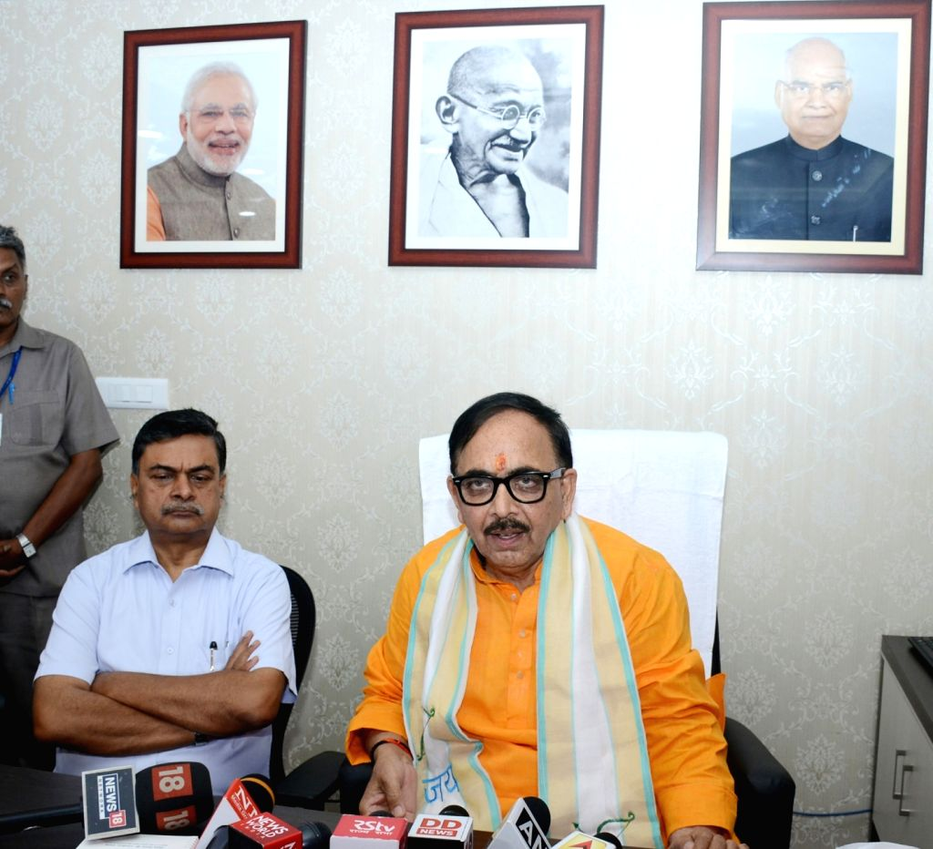 Mahendra Nath Pandey talks to the media persons after taking charge as the Union Skill Development and Entrepreneurship Minister, in New Delhi on June 4, 2019. - Mahendra Nath Pandey
