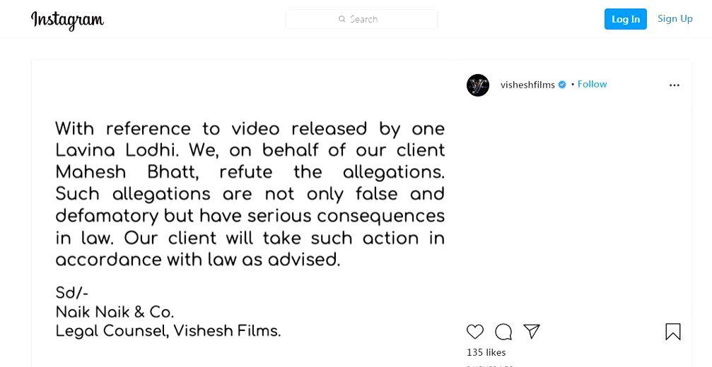 Mahesh Bhatt to take legal action against Luviena Lodh over video alleging harrassment.