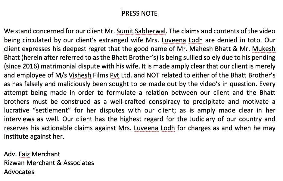 Mahesh, Mukesh Bhatt file defamation complaint against Luviena Lodh.
