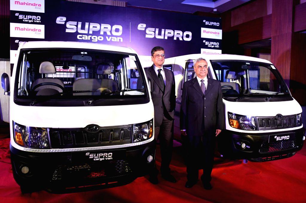 Mahindra and Mahindra Automotive Division President and Chief Pravin Shaah and Mahindra Electric Chief Executive Officer Arvind Mathew during launch of Mahindra & Mahindra (M&M) ...