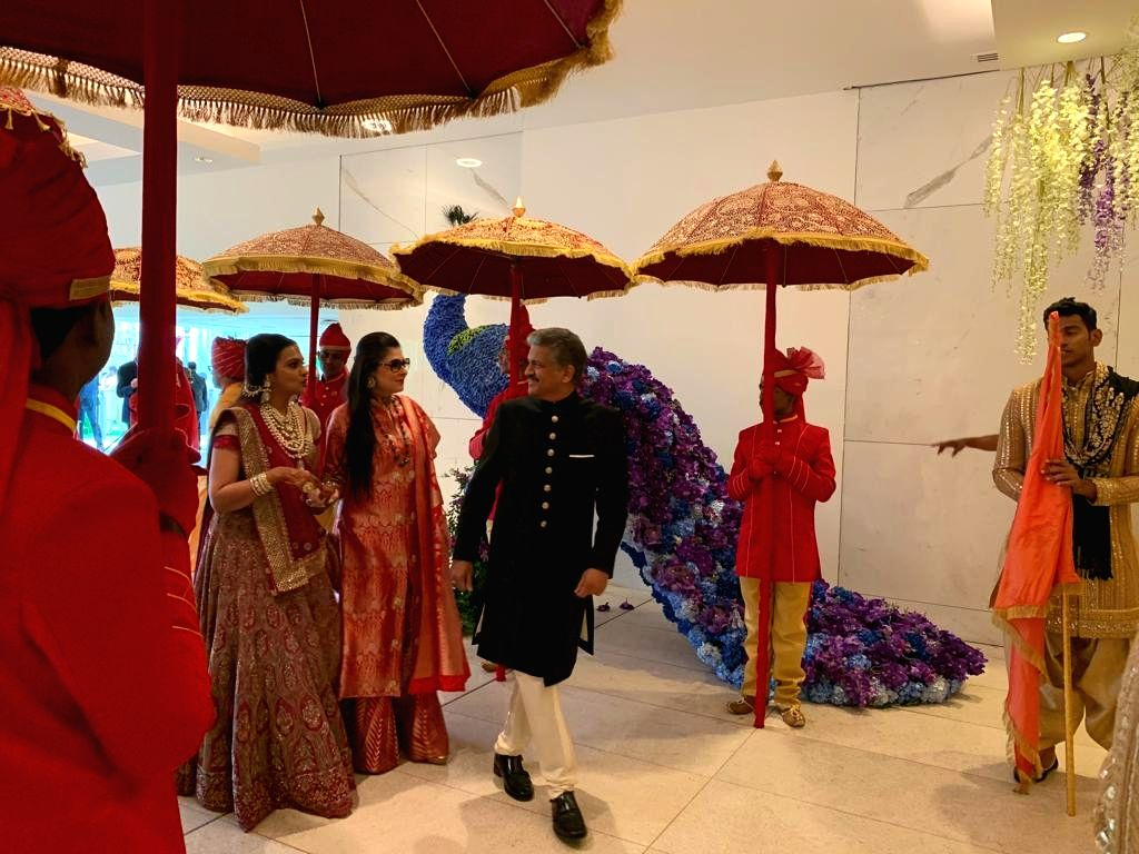 Mahindra Group Chairman Anand Mahindra at the wedding festivities of Akash Ambani and Shloka Mehta in Mumbai on March 9, 2019. - Akash Ambani and Shloka Mehta