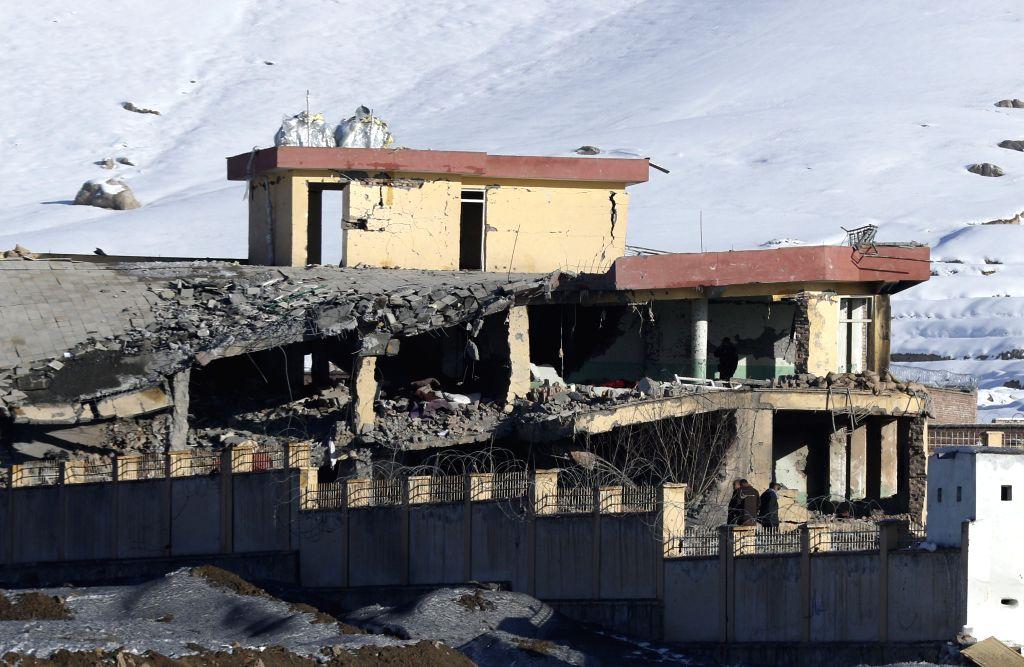 MAIDAN SHAR (AFGHANISTAN), Jan. 21, 2019 Photo taken on Jan. 21, 2019 shows a damaged building after a Taliban attack in Maidan Shar, capital of Wardak province, Afghanistan. At least 18 ...