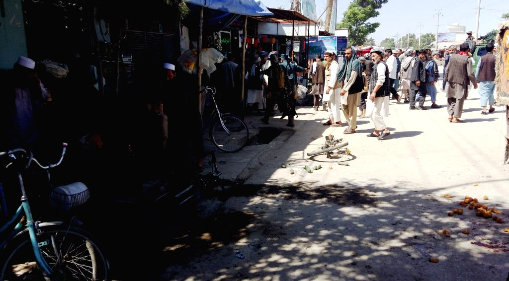 MAIMANA, May 19, 2016 - Photo taken on May 19, 2016 shows the site of a blast in Maimana city, capital of Faryab province, Afghanistan. Some 15 civilians were injured in a bomb attack in ...