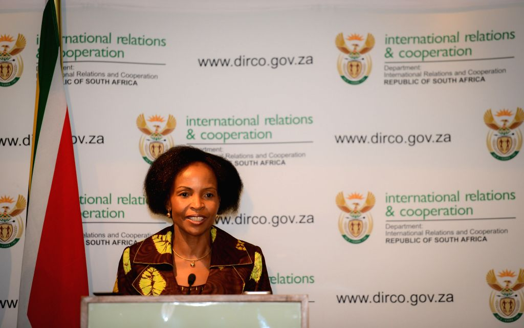 :Maite Nkoana-Mashabane, Minister of the Department of International Relations and Cooperation of South Africa, attends a media briefing on the xenophobia ... - Sushma Swaraj