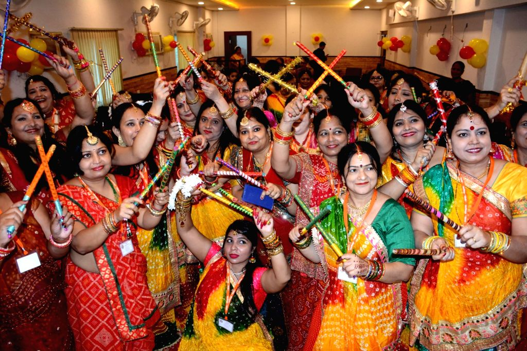 Maithili women with their traditional attire pose for photograph during  Mithila  Maitri Samaroh  in Patna on Sunday October 03,2021.