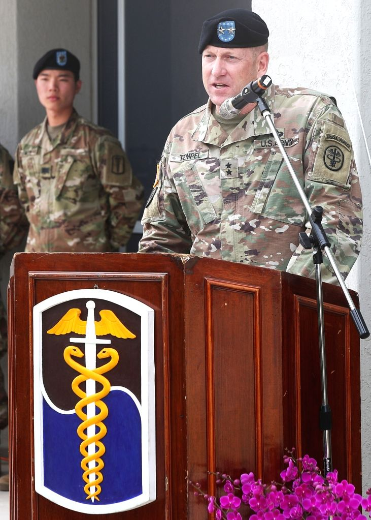 Maj. Gen. Thomas Tempel, chief of the U.S. Army Dental Corps, speaks during a ceremony at Camp Humphreys in Pyeongtaek, south of Seoul, on May 30, 2017, to open Camp Humphreys Dental Clinic, a dental ...