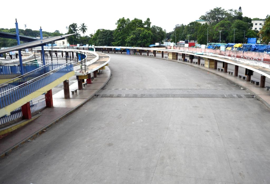 Majestic bus stand bears a deserted look during the extended nationwide lockdown imposed to mitigate the spread of coronavirus, in Bengaluru on May 8, 2020.