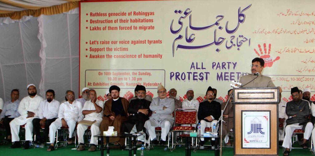 Majlis-e-Ittehadul Muslimeen legislator Ahmed Bin Abdullah Balala addresses during the Muslim Organisation's All Party protest meet over atrocities against Rohingya Muslims in Hyderabad on ...