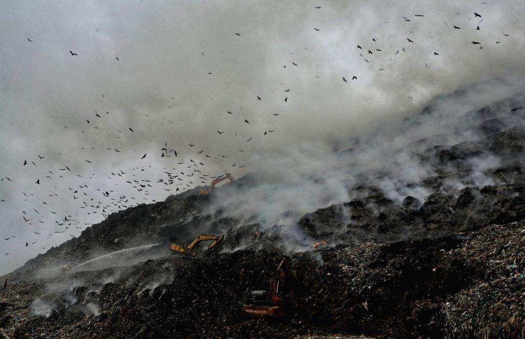 Major fire broke out at east Delhi's Ghazipur landfill, on Nov 25, 2020. Firefighting operations continued on Wednesday morning as toxic fumes from the burning garbage filled the air. No ...