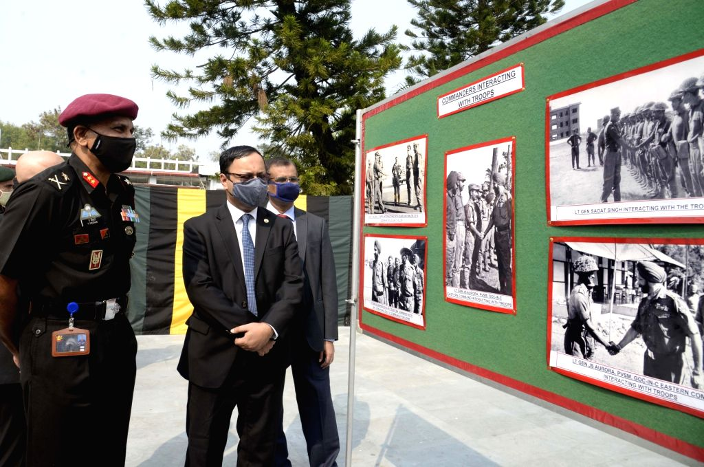 Major Gen V Sreehari, MGGS HQ Eastern Command and Deputy High Commissioner Taufique Hassan at an exhibition organised during the curtain raiser of Vijay Diwas 2020 celebrations, in Kolkata ...