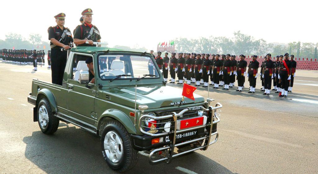 Major General N Srinivas Rao, General Officer Commanding (GOC), Telangana & Andhra Sub Area (TASA) reviews attestation parade at Artillery Centre in Hyderabad on Feb 16, 2019.