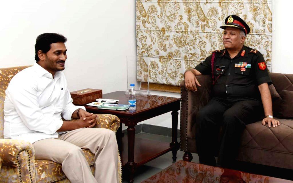 Major General N Srinivas Rao, General Officer Commanding (GOC), Telangana and Andhra Sub Area meets Andhra Pradesh Chief Minister YS Jagan Mohan Reddy in Vijayawada on July 18, 2019. - Jagan Mohan Reddy