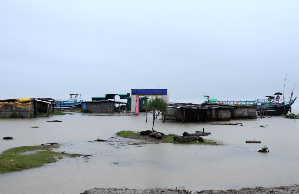 Majuli: The Afolamukh Ghat in river Island Majuli where ferry services have been suspended for an indefinite period following the heavy downpour and rise in the water levels of Brahmaputra river, in Assam's Majuli on July 10, 2019. (Photo: IANS)