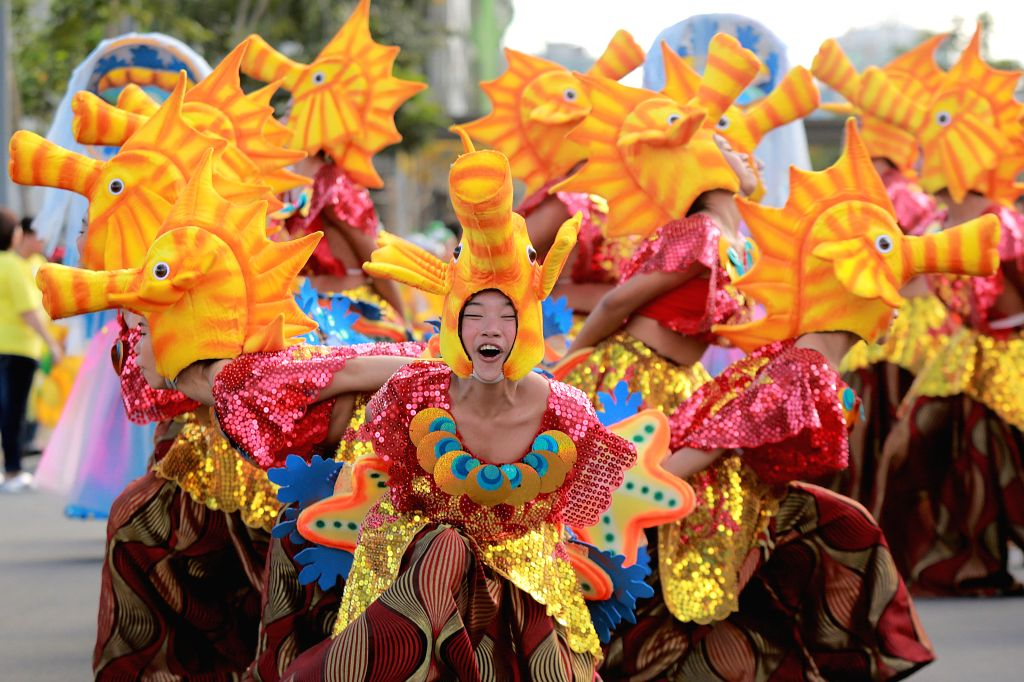 MAKATI CITY, Feb. 26, 2017 - Students dressed in colorful costumes perform during the 31st Caracol Festival in Makati City, the Philippines, Feb. 26, 2017. The festival highlighted the colorful, ...