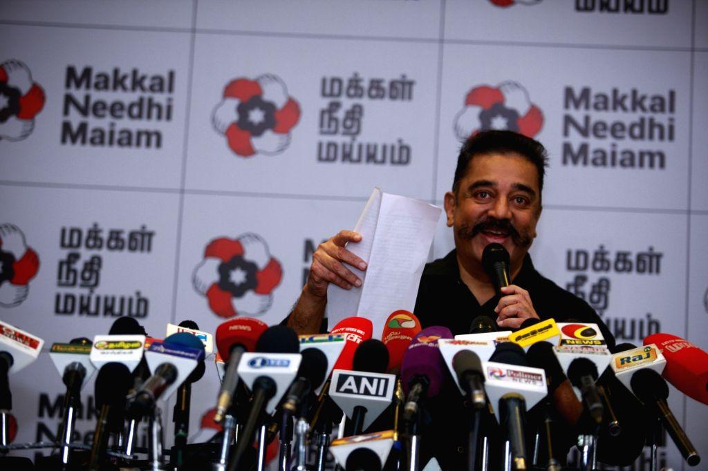Makkal Needhi Maiam chief Kamal Haasan addresses a press conference in Tiruchirappalli on April 4, 2018.
