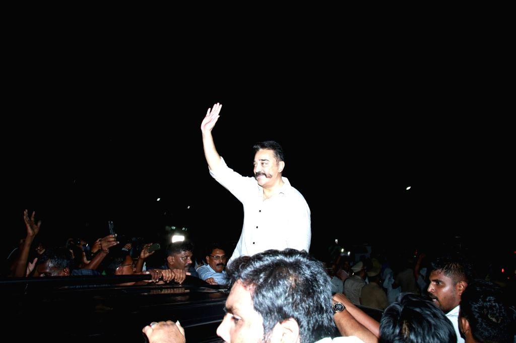 Makkal Needhi Maiam chief Kamal Haasan arrives at Tiruchirappalli in Tamil Nadu on April 3, 2018.