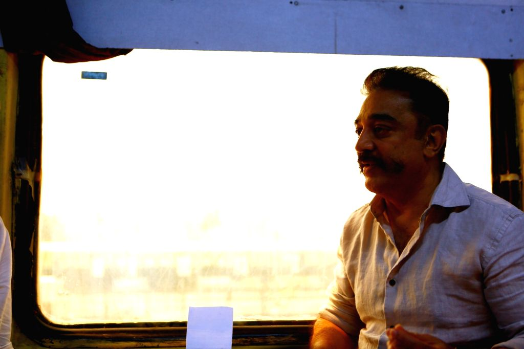 Makkal Needhi Maiam chief Kamal Haasan left for Tiruchirappalli from Chennai in a train bound for the central district in Tamil Nadu on April 3, 2018.