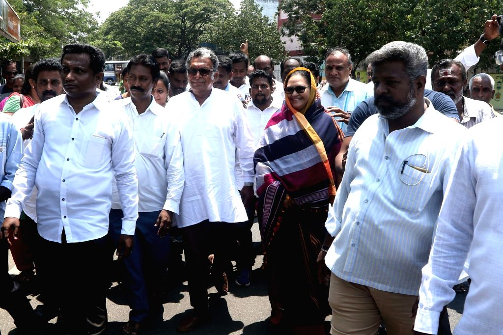 Makkal Needhi Maiam (MNM) candidate from Chennai Central, Kameela Nasser arrives to file her nomination for 2019 Lok Sabha elections in Chennai, on March 25, 2019.