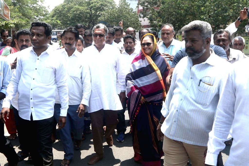 Makkal Needhi Maiam (MNM) candidate from Chennai Central, Kameela Nasser arrives to file her nomination for 2019Lok Sabha elections in Chennai, on March 25, 2019.