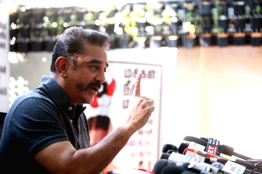 Makkal Needhi Maiam (MNM) leader Kamal Haasan addresses a press conference in Chennai on March 29, 2018.