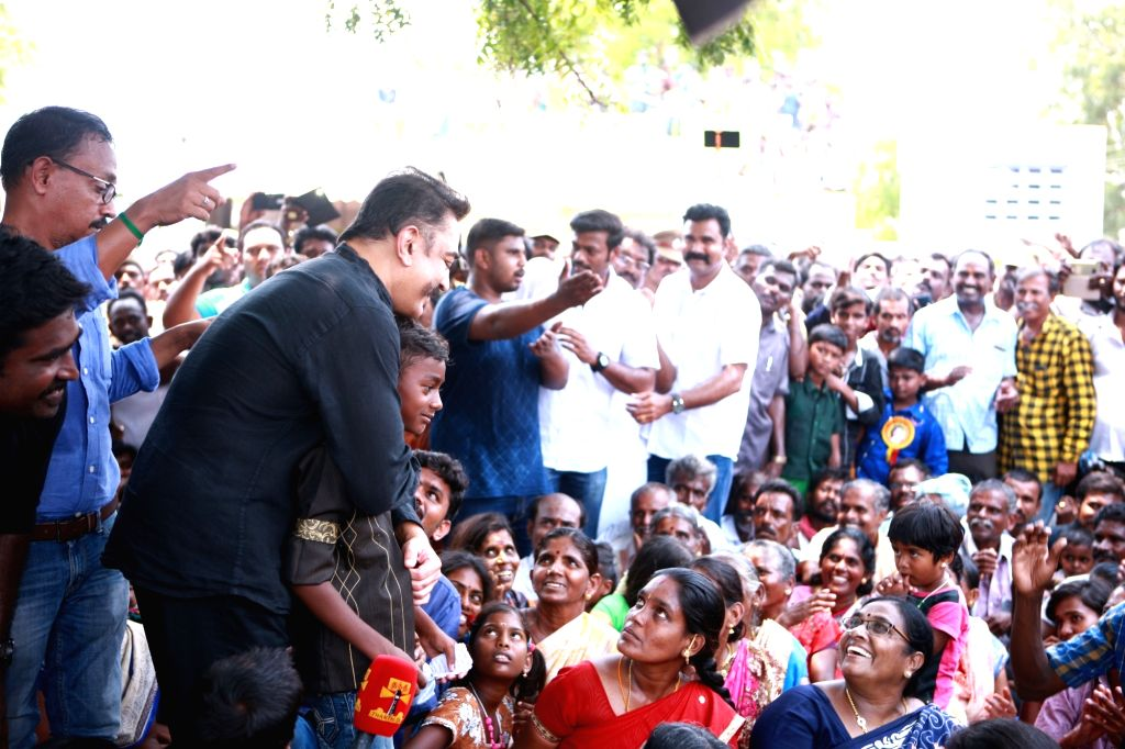 Makkal Needhi Maiam (MNM) leader Kamal Haasan during his visit to Thoothukud where he met people and joined them in their protest against Vedanta Sterlite's copper smelter in the Tamil ...