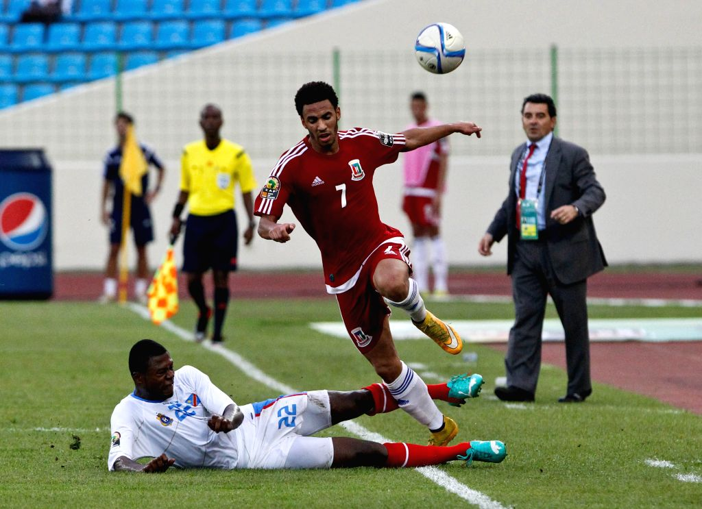 Ruben Belima Rodriguez (C) of Equatorial Guinea competes during the third place play-off match with the Democratic Republic of the Congo at the 2015 Africa Cup of ...
