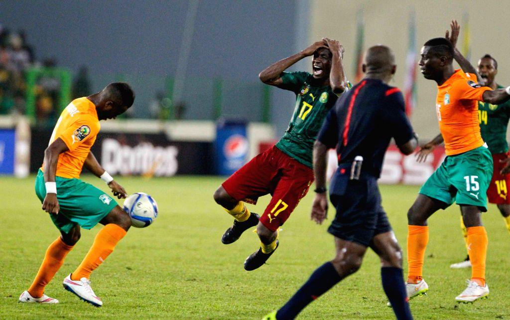 Stephane Mbia Etoundi of Cameroon shouts during the group match of Africa Cup of Nations against Cote d'Ivoire at the Stadium of Malabo, Equatorial Guinea, Jan. 28, .
