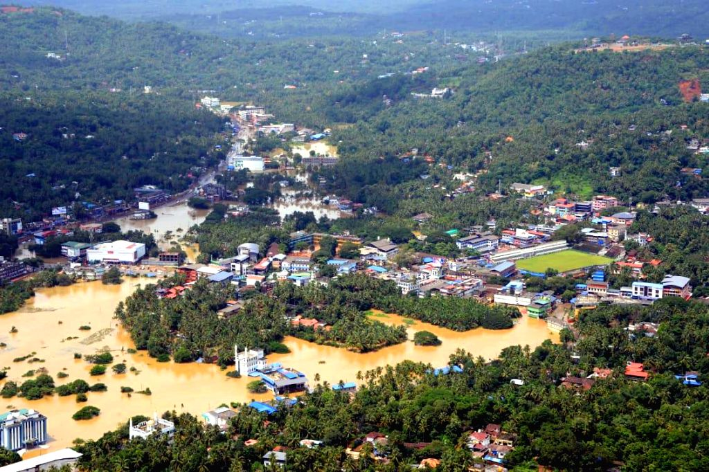 Malappuram: An aerial view of flood hit Kerala's Malappuram on Aug 11, 2019. (Photo: IANS)