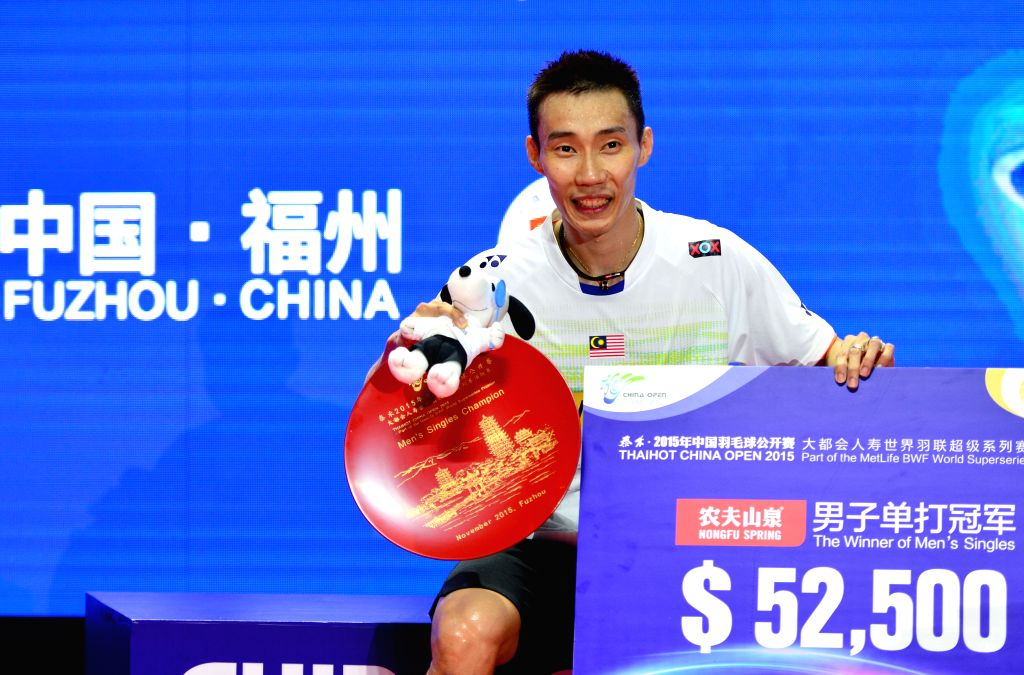 Malaysia's Lee Chong Wei poses on the podium after the men's singles final match against Chen Long of China at 2015 Badminton China Open in Fuzhou, southeast China's ...