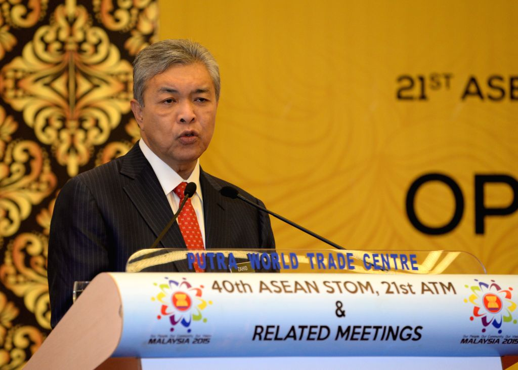 : Malaysian Deputy Prime Minister Ahmad Zahid Hamidi addresses the opening ceremony of the 21st Asean Transport Ministers Meeting and Associated Meetings, ...