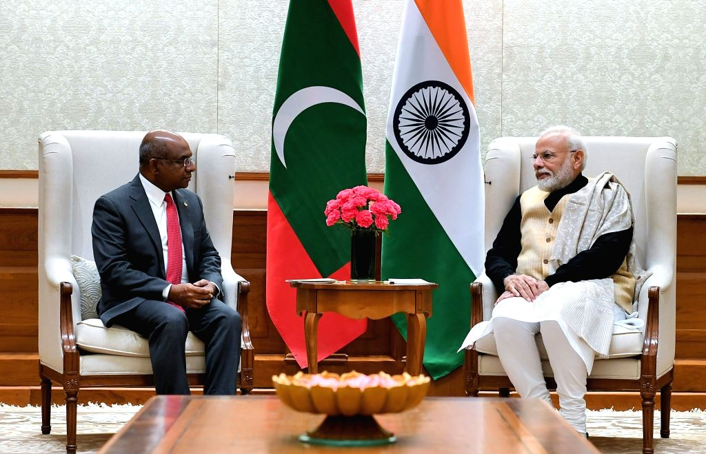 Maldives Foreign Affairs Minister Abdulla Shahid calls on Prime Minister Narendra Modi, in New Delhi on Dec 13, 2019. - Abdulla Shahid and Narendra Modi